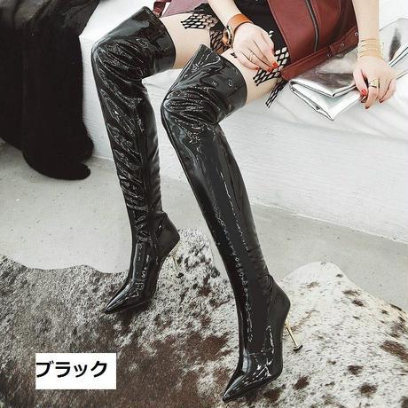 ニーハイ オーバーニー ソフトパテントレザー スーパーロング ブーツ ハイヒール カラー:ブラック 裏起毛 A1037