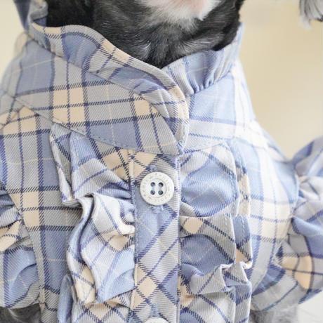 スタンドカラーオーバーチェックフリルシャツ ブルージュ