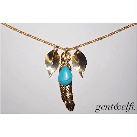 turquoise&gold feathernecklace leaf customize