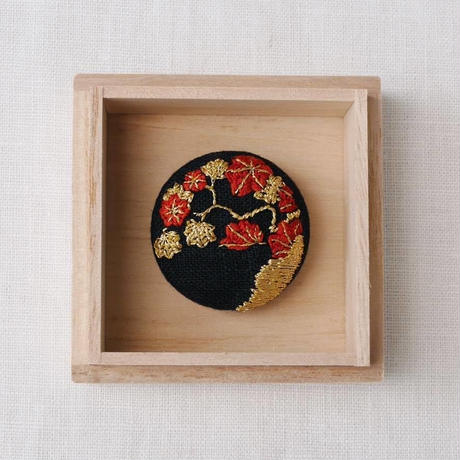 Mayumi Tomita 紅葉 手刺繍ブローチ&帯留