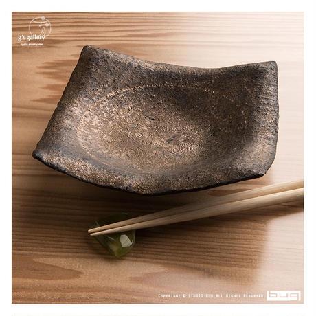 Norikazu Ogawa 鉄銀彩四方角皿(中皿)