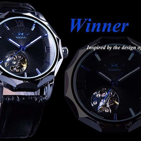 Winner スケルトンブルーオーシャンダイヤル 海外クォーツ腕時計
