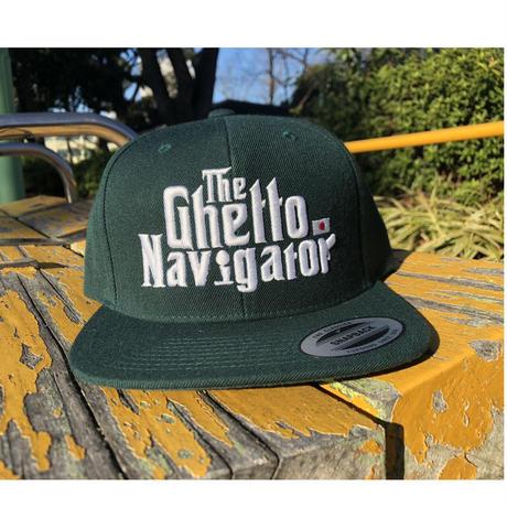 THE GHETTO NAVIGATOR snapback cap / Green × White