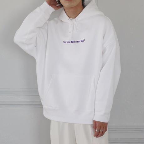 Do you like purple?刺繍パーカー(ホワイト)