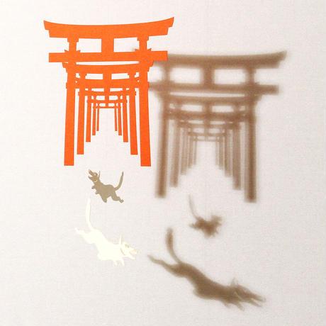 お稲荷さん一連朱「WHITE」#paper ornament