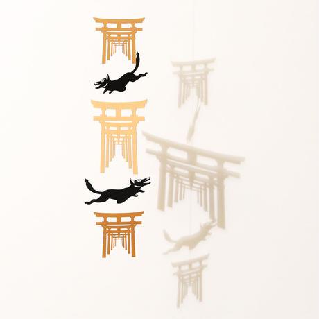 お稲荷さん三連ゴールド「BLACK」#paper ornament