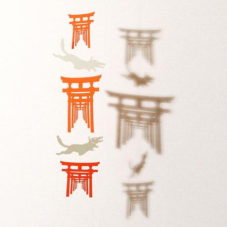 お稲荷さん三連朱「WHITE」#paper ornament