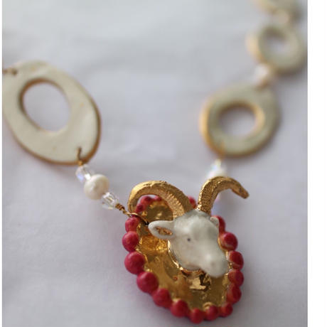 Joke Schole ceramic necklace goat