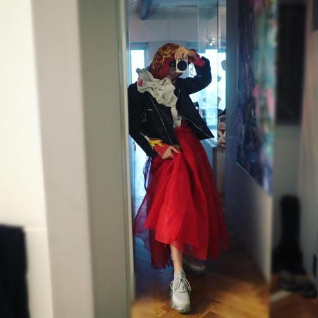 "Red hoodie dress ""vava dudu"""