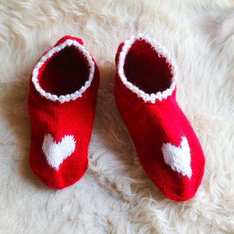 Hand Knit Socks Heart