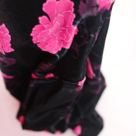 """""""FETICO"""" Floral print gathered velour cycling shorts"""