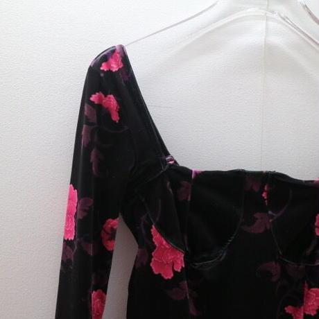 """""""FETICO"""" Floral print velour bodysuits"""