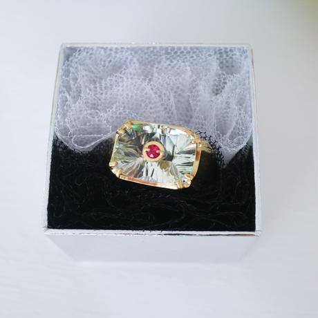 """""""imago""""green quartz & rubi ring"""