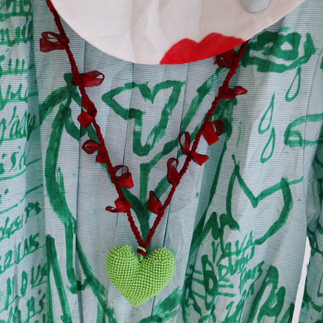 Big Heart Necklace  Green/Wine