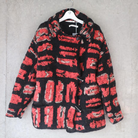 HAND KNITTED THE DYE KNIT COAT ORANGE