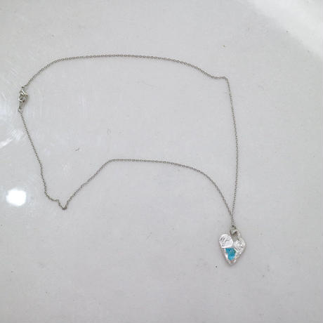 Alterita Jewerly/Silver×sea glass blue heart necklace