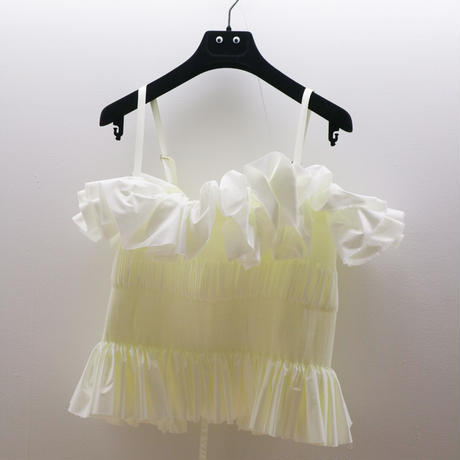 pleated top with straps ivory