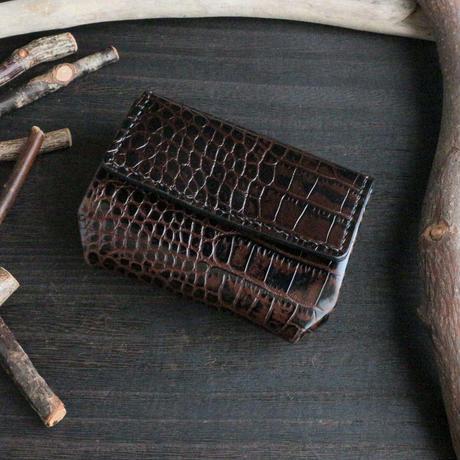 ミニウォレット(折れマチ仕様) ※イタリアンレザーLIPARI(リパリ) 革色ダークブラウン