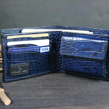 ハーフウォレット(二つ折り財布) ※イタリアンレザーLIPARI(リパリ) 革色ブルー