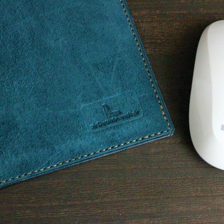 マウスパッド ※Made in Japanレザー「サヴール」 ※革色ダークブルー