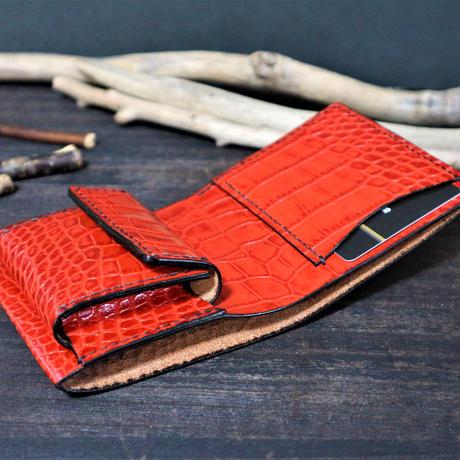 ミニウォレット(小さめ二つ折り財布) ※イタリアンレザーLIPARI(リパリ) 革色レッド・クリームベージュ