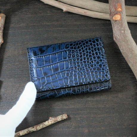 名刺・カード入れ(マチ付きタイプ) ※イタリアンレザーLIPARI(リパリ) 革色ブルー