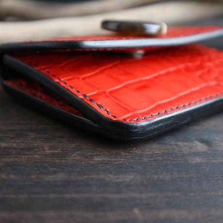 ミニウォレット(高品質ボタン仕様) ※イタリアンレザーLIPARI(リパリ) 革色レッド