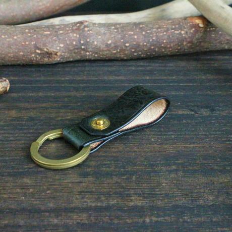 リベットキーホルダー ※イタリアンレザーCORFU(コルフ) 革色ディープグリーン