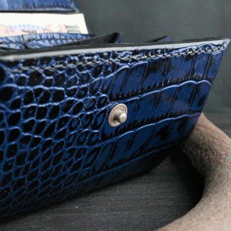 ミニウォレット(折れマチ仕様) ※イタリアンレザーLIPARI(リパリ) 革色ブルー