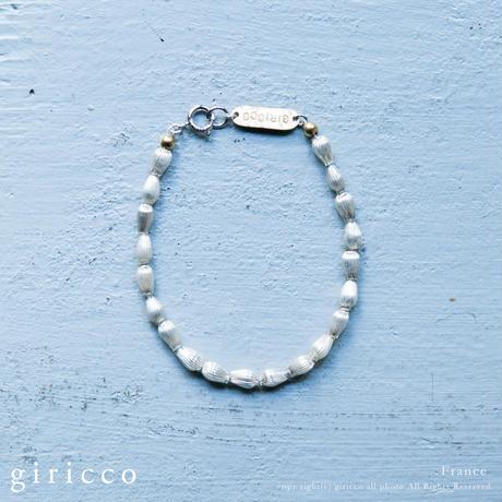 フランス製の珍しい形のラインの入ったシルバースフレガラスのブレスレット(TJ10938)