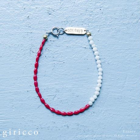 フランス製の綺麗な赤とほんのりピンクのスフレガラスのブレスレット。(TJ10943)