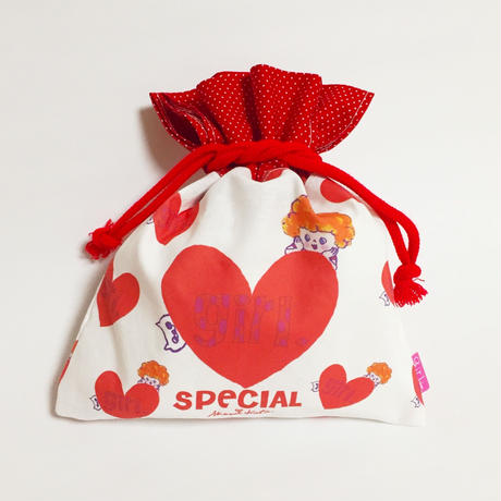 girlちゃん巾着  赤いハート