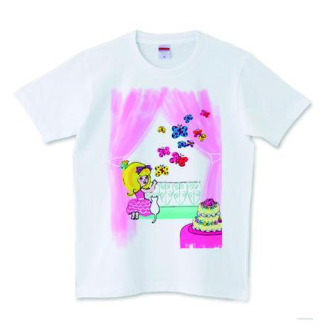 girlちゃんTシャツ(ピンクのカーテン)