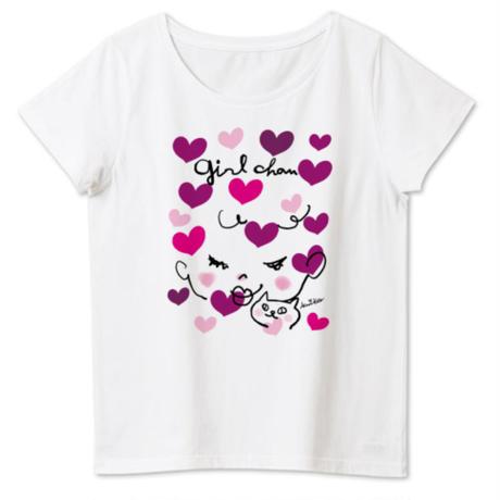 女性用girlちゃんTシャツ(ハートがいっぱい)