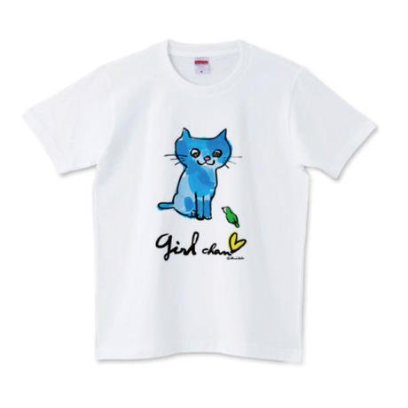 girlちゃんTシャツ(青いネコ)