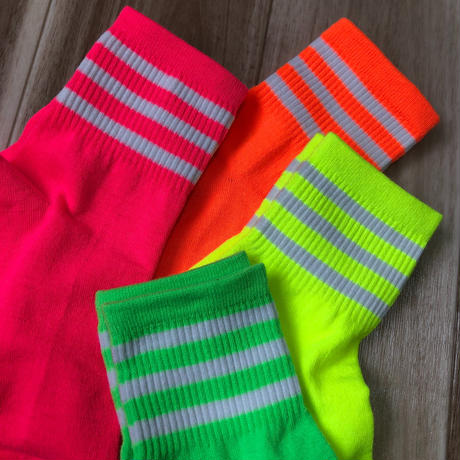 neon color  white line socks