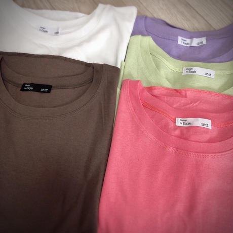 9分丈無地シンプルデザインTシャツ