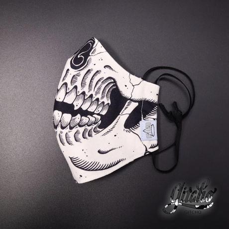 オリジナル髑髏3D布マスク(ポケット付き)-ナチュラル