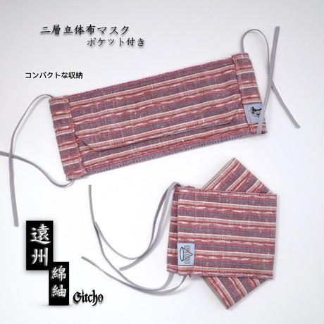 「遠州綿紬」立体布マスク(ポケット付き)-桜桃