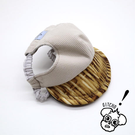 ドッグキャップ-ベージュx籠