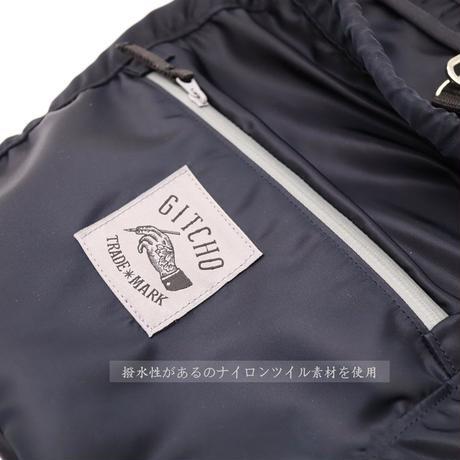 2way丸巾着バッグ-ナイロンツイルブラック