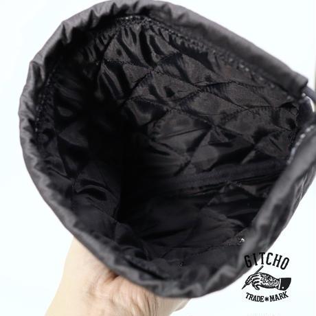 キルト巾着袋-ブラック
