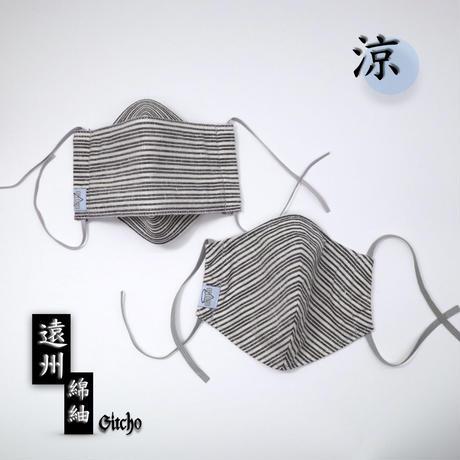 「遠州綿紬」立体布マスク(ポケット付き)-清流