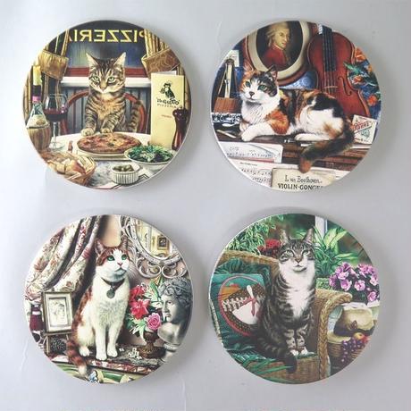 猫コースター(セラミック、コルク)4ヶセット☆代引き不可・沖縄、離島は追加500円☆問屋直送品です。