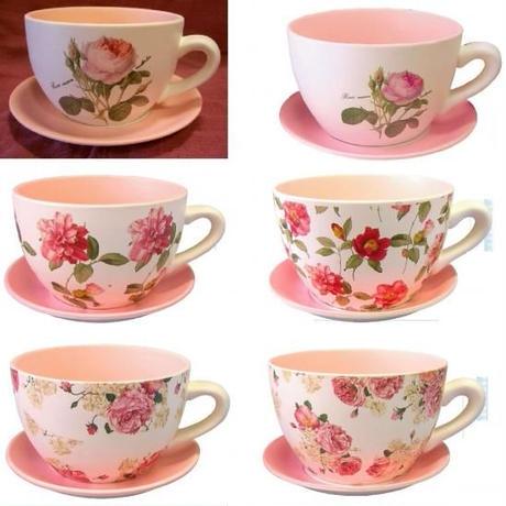 繊細な薔薇のイラストが素敵♪ローズ・コーヒーカップ・プランター☆珈琲カップ型の素焼きの植木鉢☆(大)