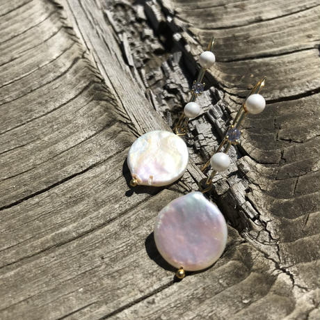 【Coin shaped pearl】ピアス