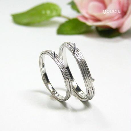 つる植物のデザイン、結婚指輪(ハードプラチナ製)/ 蔓(5-6)