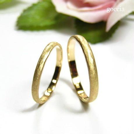細めの結婚指輪(K18ゴールドのマリッジリング) マットな艶消し仕上げ(Light)5-4