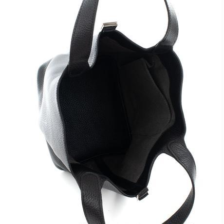 プレミアム本革 キューブバッグ MMサイズ ブラック 同色ステッチ