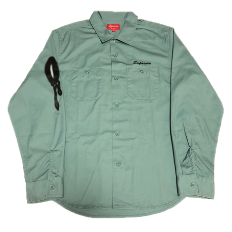 Supreme Rose L/S Work Shirt Khaki M 18AW 【中古】